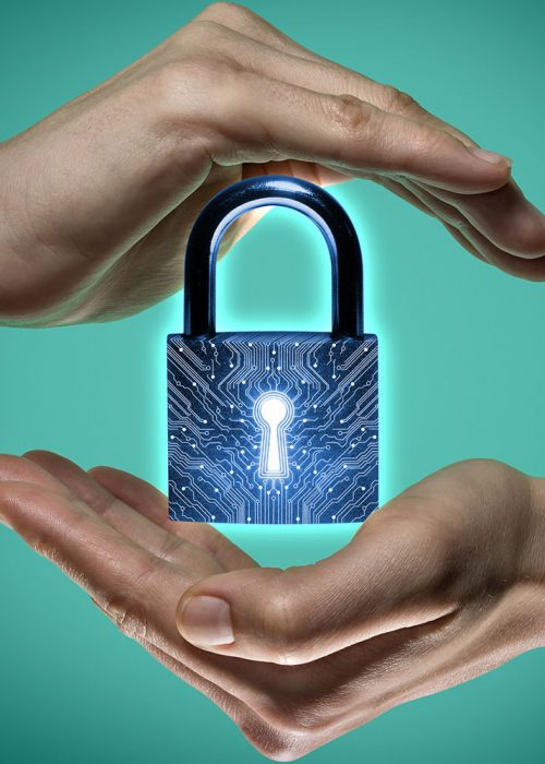 Image of two hands on blue and green background. Closed lock icon in the center, as a symbol of confidentiality, data protection and security.