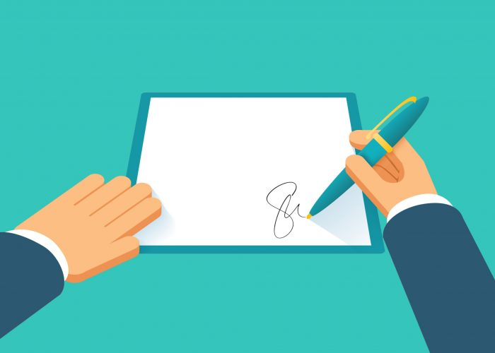 Hands sign contract. Agreement paper document, petition or pact, agree license, legal paperwork, vector illustration